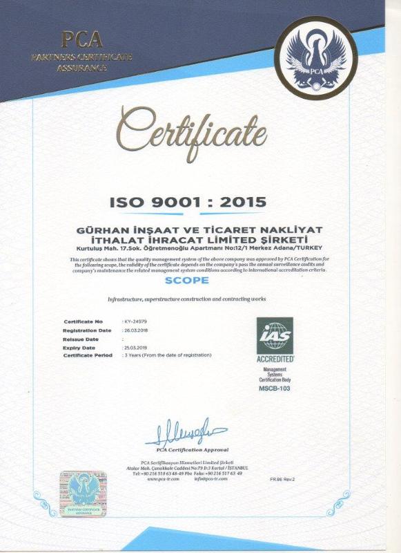 Gurhan Construction ISO 14001