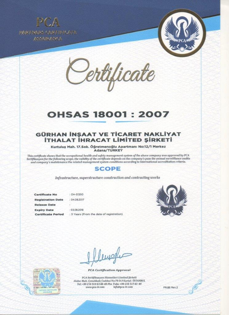 Gurhan Construction OHSAS 18001